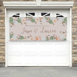 Personalized Banner - Modern Floral Wedding