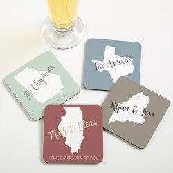 Personalized Gifts (Under $10):Personalized Coasters - State Pride