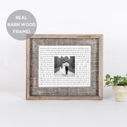 Song Lyric & Photo Print In Barn Wood Frame