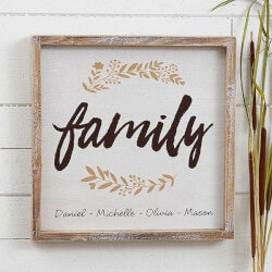 Personalized Gifts for Wife:Cozy Home 12x12 Personalized Barnwood Wall Art