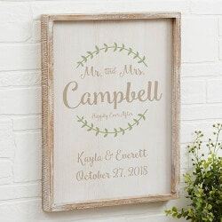 Romantic Gifts (Under $50):Mr & Mrs Personalized Whitewashed 14x18..