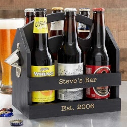 Birthday Gifts for Boyfriend Under $50:Personalized 6pk Beer Caddy Bottle Opener