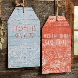 Coastal Home Personalized Wood Tags