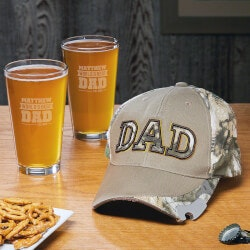 Beer Fathers Day Gifts:Baseball Cap Bottle Opener And Pint Glasses..