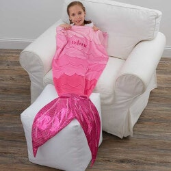 Personalized Gifts for 5 Year Old:Personalized Mermaid Tail Blanket