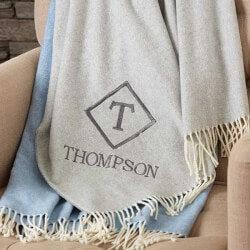 Unique 70th Birthday Gifts:Monogrammed Luxury Throw