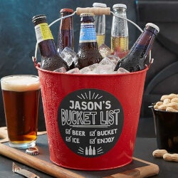 Personalized Gifts for Brother:Bucket List Personalized Red Metal Beer Bucket