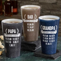 Beer Fathers Day Gifts:Personalized Pint Glasses - Date Established