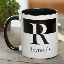Gifts Under $10:Initials Personalized Black Ceramic Coffee..