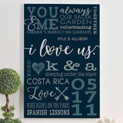 I Love Us Personalized Romantic Canvas..