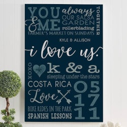 Romantic Gifts (Under $50):I Love Us Personalized Romantic Canvas..