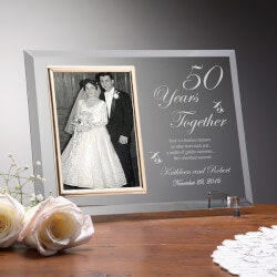 Personalized Gifts for Husband:Personalized Glass Anniversary Picture..