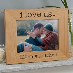 Valentines Day Gifts:I Love Us 4x6 Engraved Wood Picture Frame