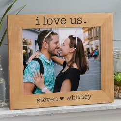 Romantic Gifts (Under $50):I Love Us 8x10 Engraved Wood Picture Frame