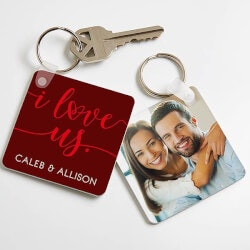 Gifts Under $10:Personalized Photo Keychain - I Love Us