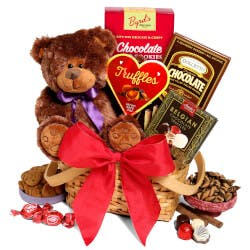 Teddy Bear & Chocolates Gift Basket