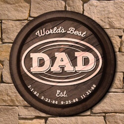 Wine Gifts:Worlds Best Dad Custom Wall Sign Gift For..