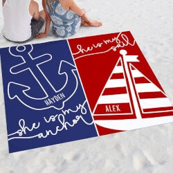 Personalized Couple Beach Blanket - Sail &..