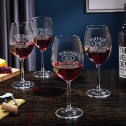 50th Birthday Gifts:Aged To Perfection Personalized Wine Glasses