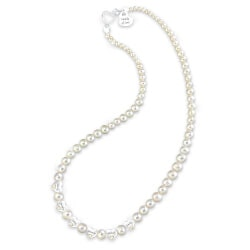 Diamond And Cultured Pearl Necklace With Up..