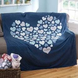 50th Birthday Gifts:Hearts Personalized Fleece Blanket