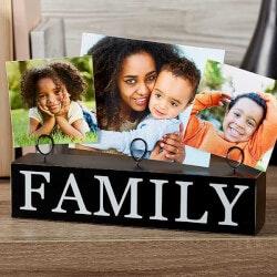 Family Photo Clip Holder Wood Block