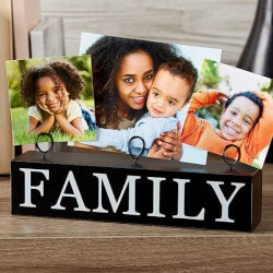 Personalized Gifts (Under $10):Family Photo Clip Holder Wood Block