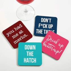 Personalized Gifts (Under $10):Personalized Coasters - Funny Drink Coasters