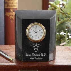 Personalized Medical Doctor Marble Desk Clock