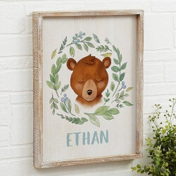Gifts for Grandson:Woodland Bear 14x18 Personalized Barnwood..