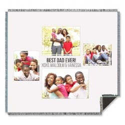 Four Photo Collage Personalized Woven Throw..