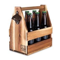 Acacia Wood Beer Caddy