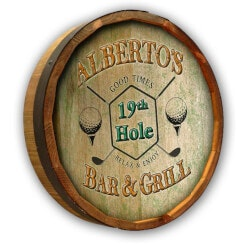 Christmas Gifts for Grandfather:19th Hole Barrel Sign