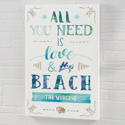 Love & The Beach 12x18 Personalized Canvas..
