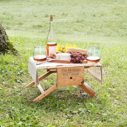Personalized Picnic Table Wine Carrier