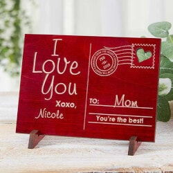 Sending Love To Mom Personalized Red Wood..