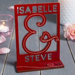 Valentines Day Gifts:You & I Personalized Red Wood Cutout Keepsake