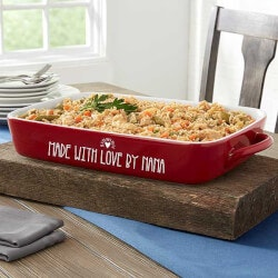 Christmas Gifts for Mom Under $50:Made With Love Personalized Red Casserole..