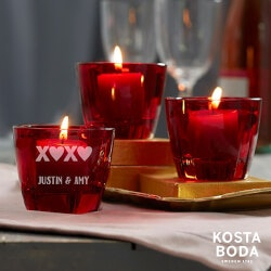 Valentines Day Gifts:Personalized Red Votive Set