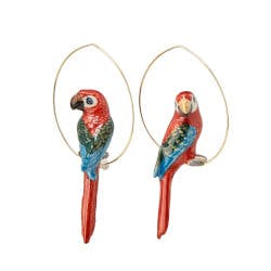 Exotic Birds Hoop Earrings