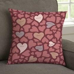 Loving Hearts Small Throw Pillow