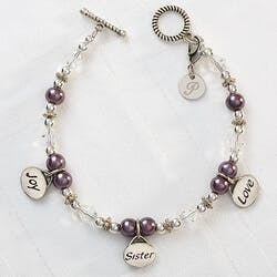 Personalized Charm Bracelet - Joy, Sister,..