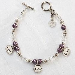 Gifts for Sister:Joy, Sister, Love Bracelet