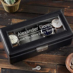 50th Birthday Gifts:Custom Message 5 Slot Leather Watch Box