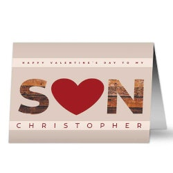 Personalized Gifts (Under $10):Son Hearts Valentines Day Greeting Card