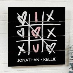 Gifts for Girlfriend:Tic-Tac-Toe Hearts 12x12 Wooden Shiplap Sign