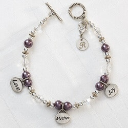 Gifts for Mom:Personalized Mom Charm Bracelet