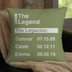 The Legend Personalized 18 Throw Pillow