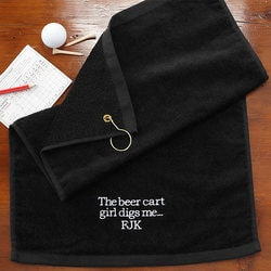Personalized Christmas Gifts for Husband:Embroidered Black Personalized Golf Towels -..