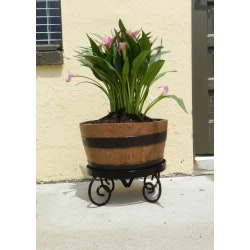Best Gifts of 2019:Half Barrel Planter With Wrought Iron Stand
